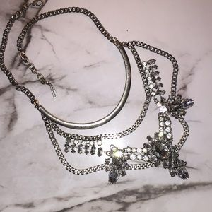 Silver Statement Necklace with Crystal Jewels